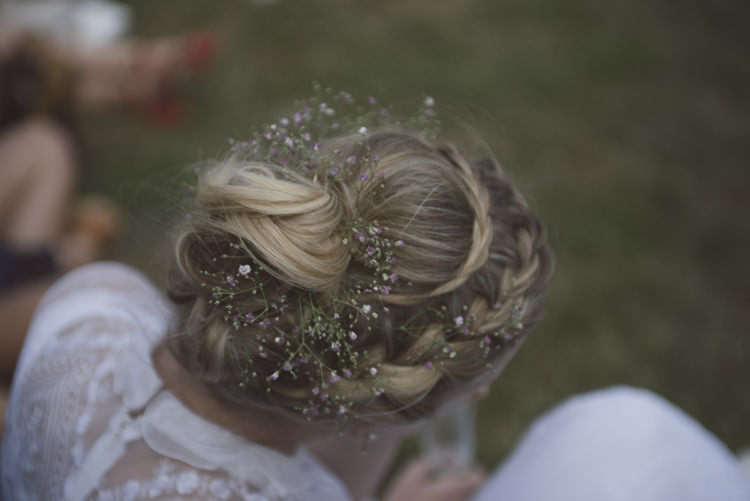 Hair Bride Bridal Plaited Braided Up Do Flowers Quirky DIY House Party Wedding http://www.petecranston.com/