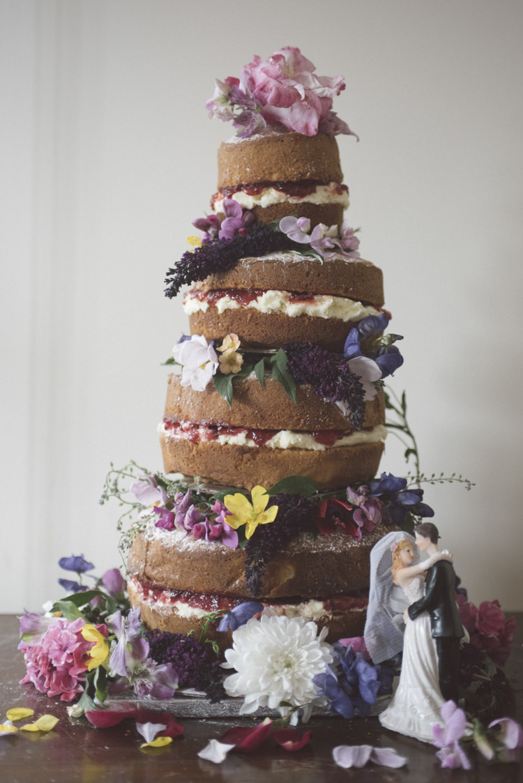 Naked Cake Sponge Later Flowers Quirky DIY House Party Wedding http://www.petecranston.com/