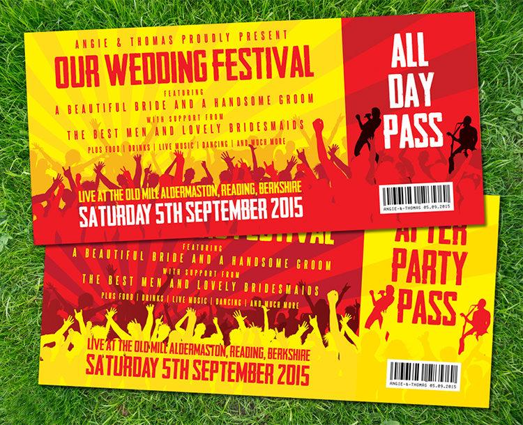 WEDFEST Festival Wedding Stationery Invitations Alternative Quirky Bold Colourful