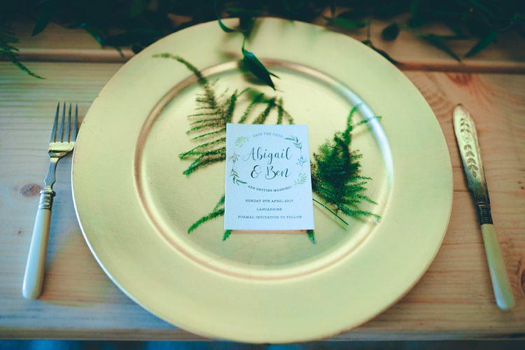 Place Setting Plate Ferns Stationery Natural Festival Tipi Wedding Ideas http://www.katemccarthyphotography.co.uk/