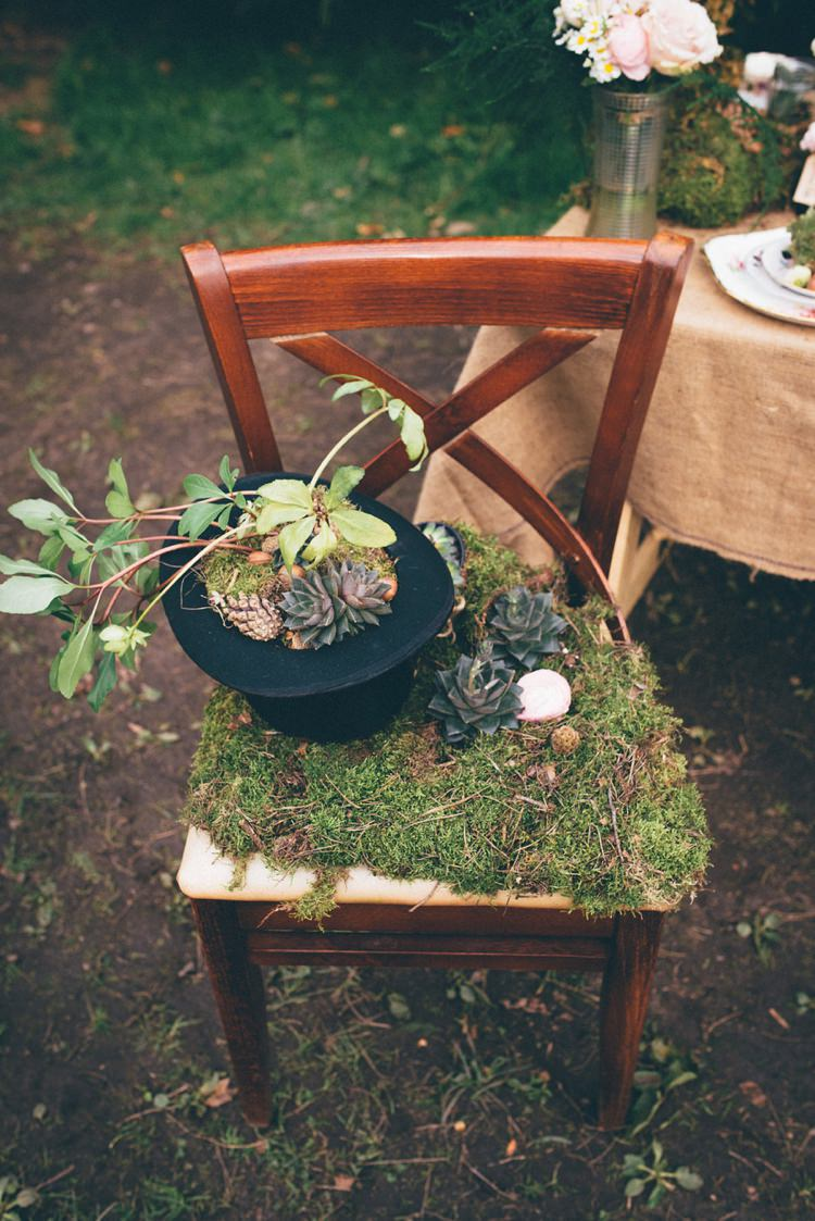 Moss Succulents Chair Decor Hat Natural Festival Tipi Wedding Ideas http://www.katemccarthyphotography.co.uk/