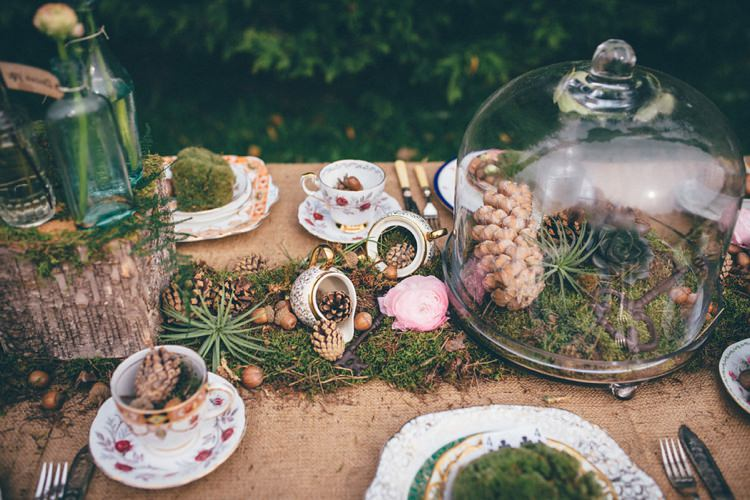 Tables Rustic Moss Decor Hessian Burlap Jars Bell Natural Festival Tipi Wedding Ideas http://www.katemccarthyphotography.co.uk/