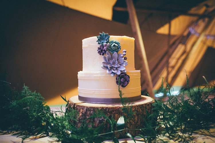 Succulent Cake Purple Blue Natural Festival Tipi Wedding Ideas http://www.katemccarthyphotography.co.uk/