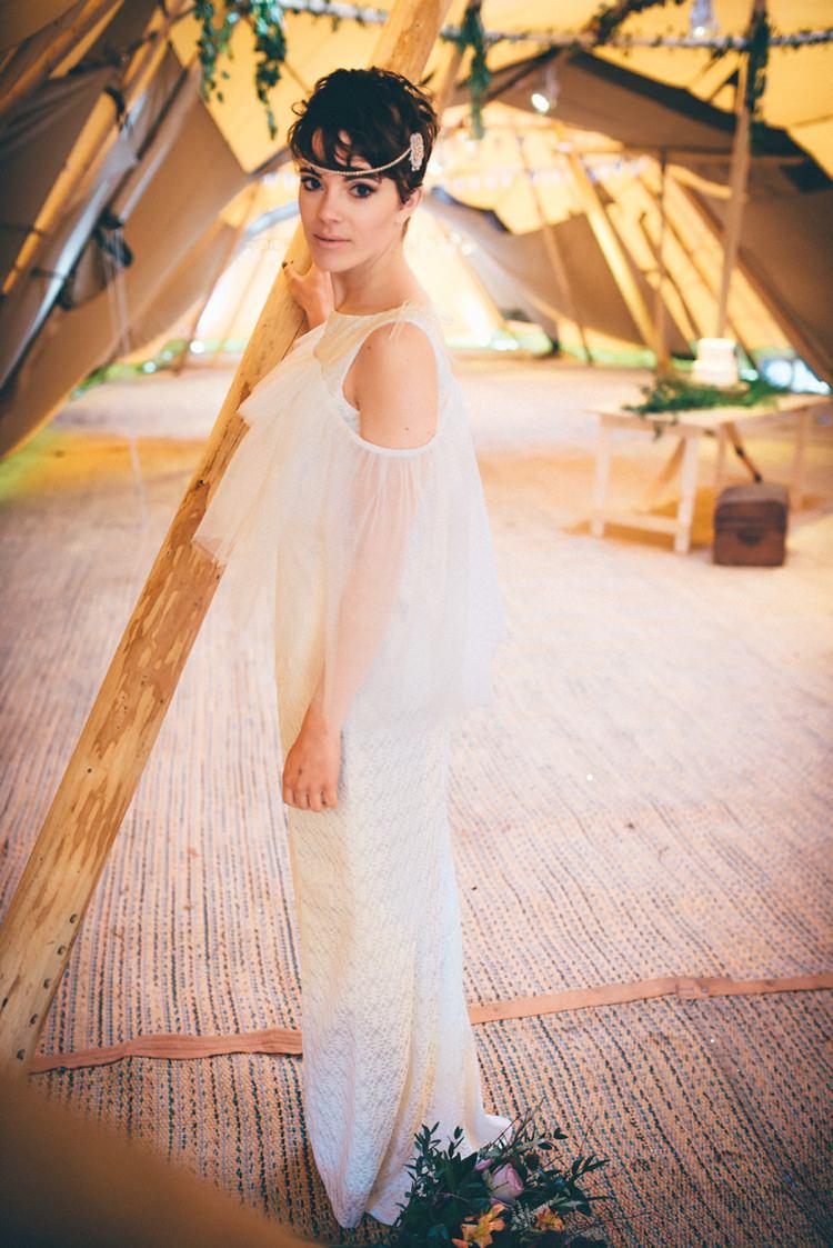 Boho Bohemian Bride Dress Gown Bridal Natural Festival Tipi Wedding Ideas http://www.katemccarthyphotography.co.uk/