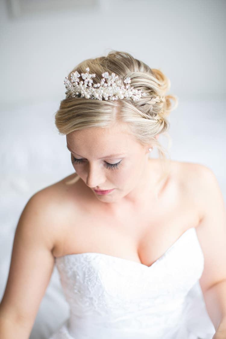 Tiara Bride Bridal Hair Make Up Natural Family Farm Festival Wedding https://amylouphotography.co.uk/