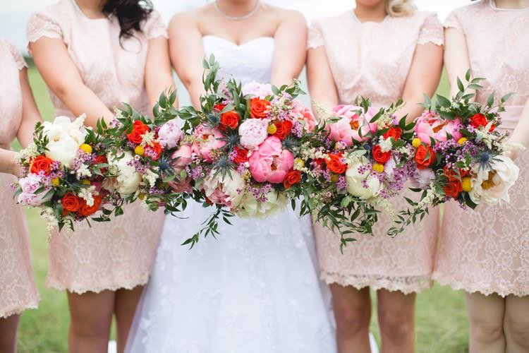 Whimsical Bouquet Coral Pink Peony Peonies Billy Ball Astilbe Flowers Bride Bridal Bridesmaids Family Farm Festival Wedding https://amylouphotography.co.uk/