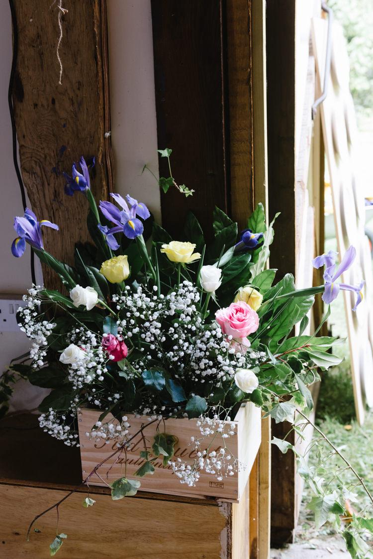 Box Flowers DIY Vintage Country Fete Farm Wedding http://carolinehancox.co.uk/