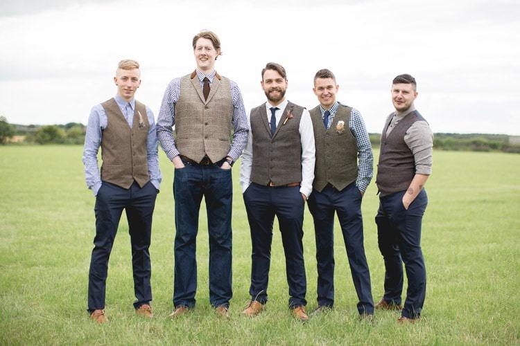 Mismatched Groom Groomsmen Waistcoats Family Farm Festival Wedding https://amylouphotography.co.uk/