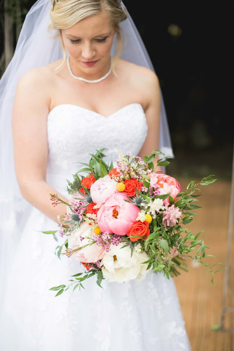 Whimsical Bouquet Coral Pink Peony Peonies Billy Ball Astilbe Flowers Bride Bridal Family Farm Festival Wedding https://amylouphotography.co.uk/