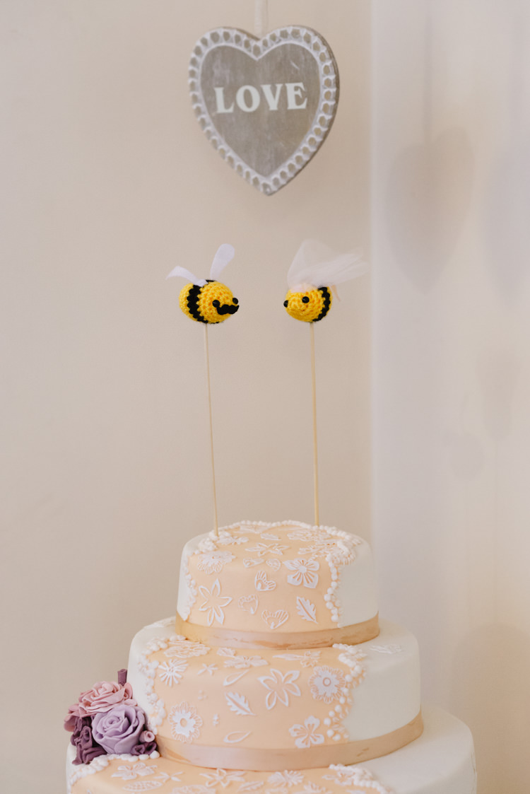 Bee Cake Toppers Knitted Vintage Country Fete Farm Wedding http://carolinehancox.co.uk/