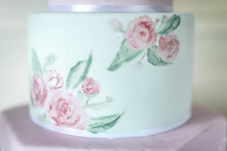 Floral Painted Cake Fun 1950s Pastel Wedding Ideas http://www.bernipalumbo.com/
