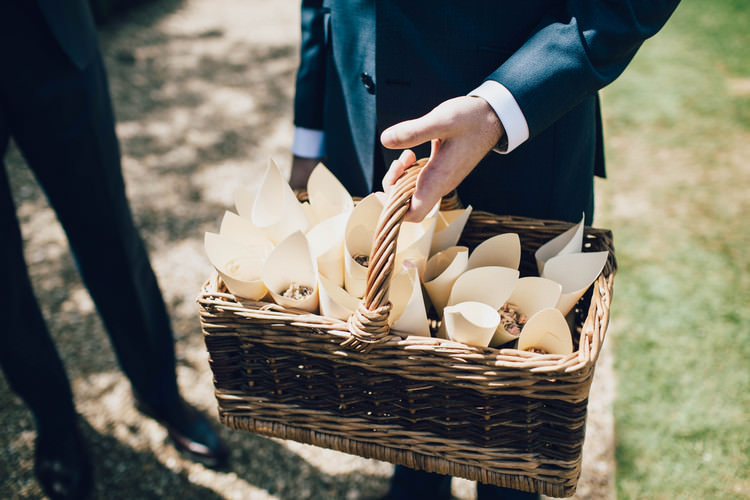 Confetti Cones Basket Summertime Pastel English Country Garden Wedding http://alipaul.com/