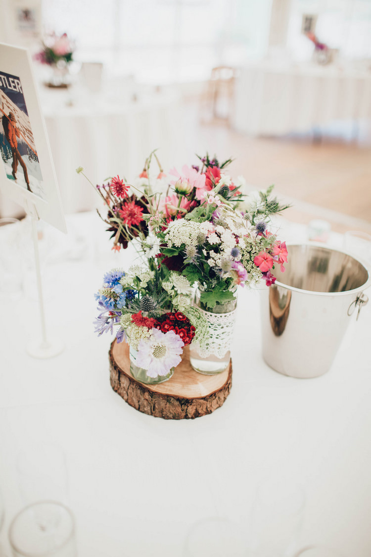 Jar Flowers Log Centrepiece Decor Tables Summertime Pastel English Country Garden Wedding http://alipaul.com/