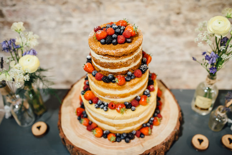 Naked Cake Sponge Victoria Layer Log Berries Natural Mismatched Home Made Wedding http://www.mattbrownphotography.co.uk/