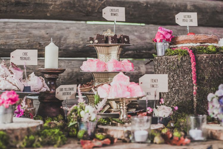 Cake Dessert Table Log Flowers Rustic Candle Natural Beautiful Autumn Outdoor Wedding http://www.johnelphinstonestirling.com/