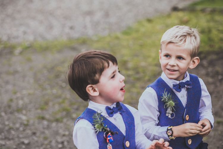 Page Boys Bow Ties Waistcoats Lego Buttonholes Natural Beautiful Autumn Outdoor Wedding http://www.johnelphinstonestirling.com/