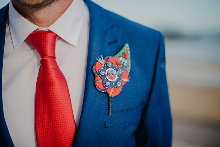 Felt Buttons Buttonhole Groom Intimate Red Seaside Brighton Wedding http://www.jmcsweeneyphotography.co.uk/