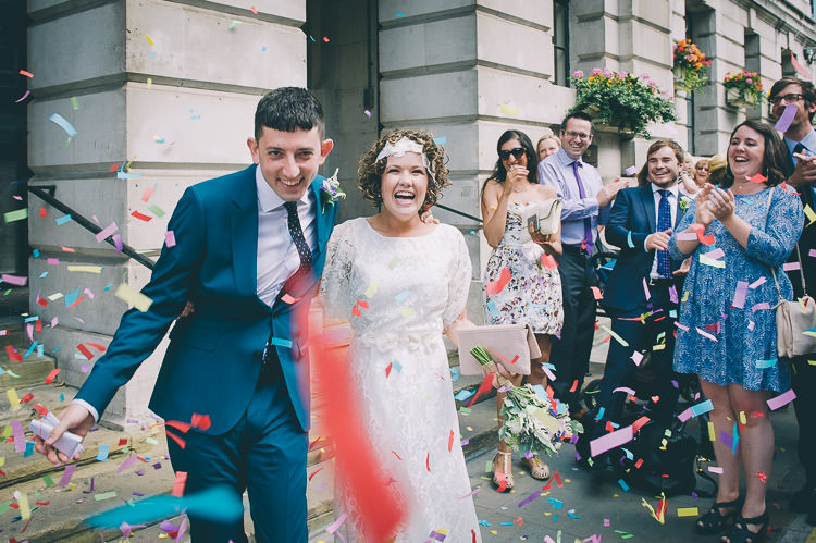 Confetti Throw Bride Groom Colourful Low Key London Wedding http://www.remaininlightphotography.com/