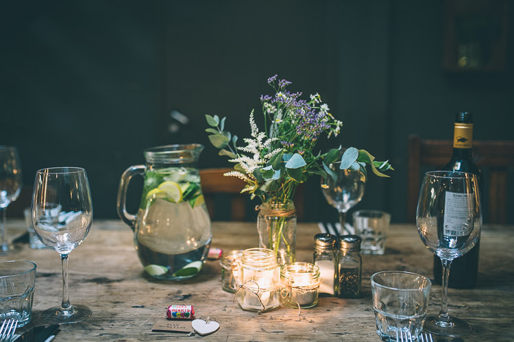 Candles Jar Flowers Colourful Low Key London Wedding http://www.remaininlightphotography.com/