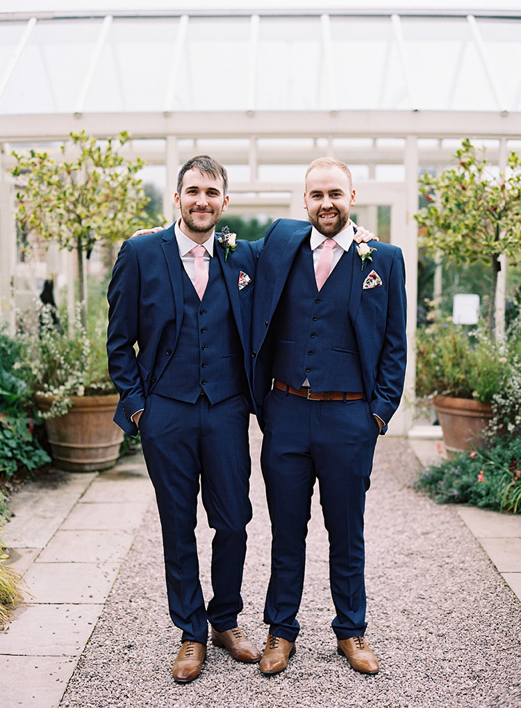 Next Suit Blue Broom Pink Tie Tan Shoes Pretty Floral Wonderland DIY Wedding http://www.victoriaphippsphotography.co.uk/
