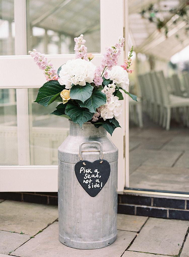 Urn Jug Metal Flowers Ceremony Hydrangea White Pretty Floral Wonderland DIY Wedding http://www.victoriaphippsphotography.co.uk/