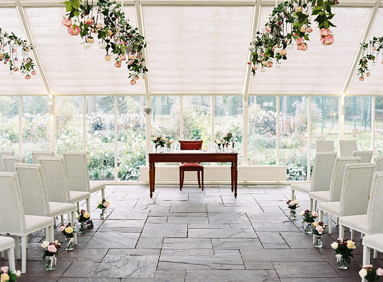 Aisle Ceremony Flowers Glass House Abbeywood Estate Pretty Floral Wonderland DIY Wedding http://www.victoriaphippsphotography.co.uk/