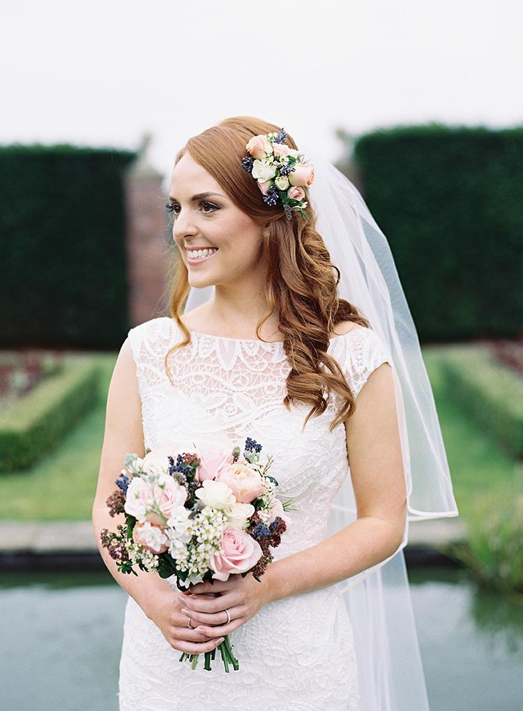 Bride Bridal Hair Waves Flowers Maggie Sottero Dress Bouquet Gown Pretty Floral Wonderland DIY Wedding http://www.victoriaphippsphotography.co.uk/