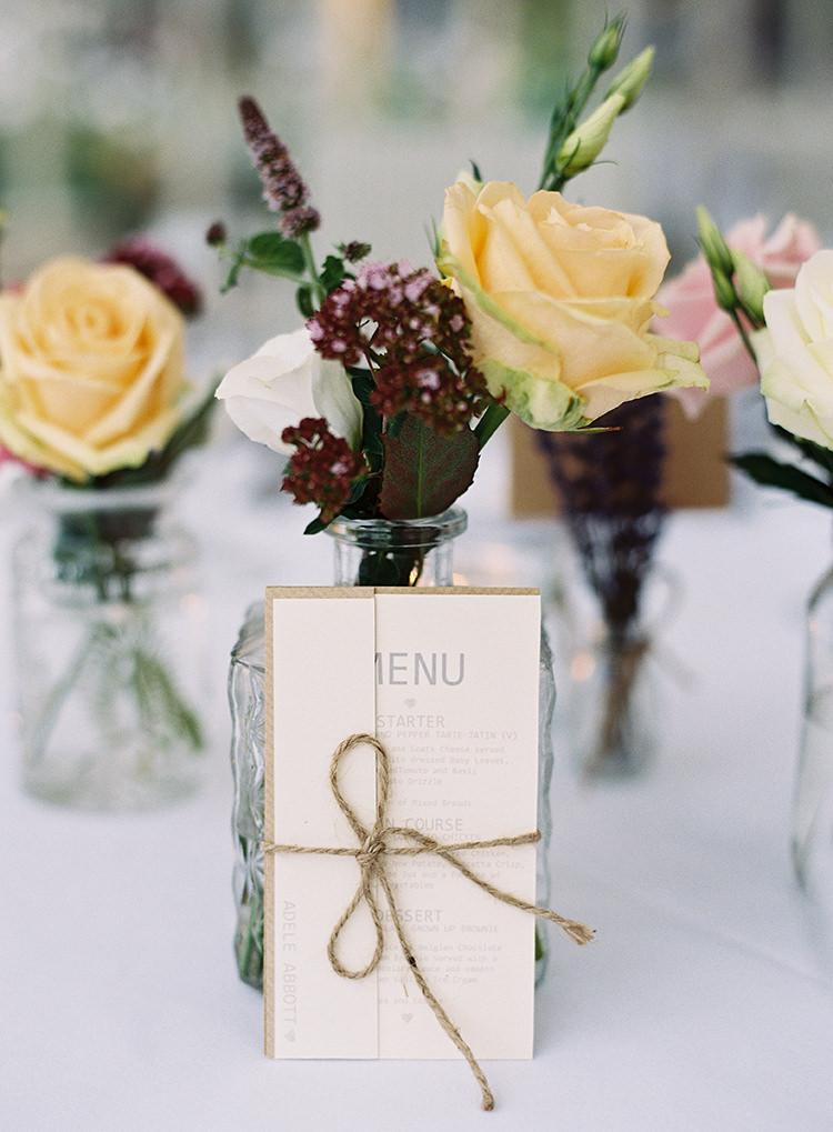 Menu Stationery Rustic Twine Pretty Floral Wonderland DIY Wedding http://www.victoriaphippsphotography.co.uk/