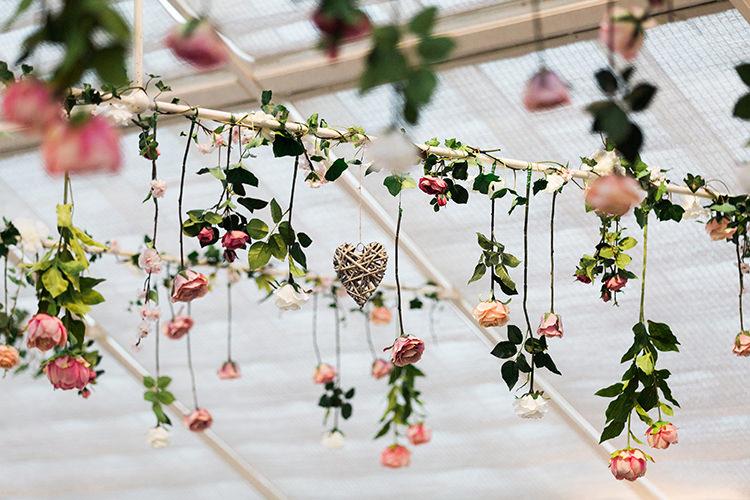 Hanging Flowers Reception Decor Pretty Floral Wonderland DIY Wedding http://www.victoriaphippsphotography.co.uk/