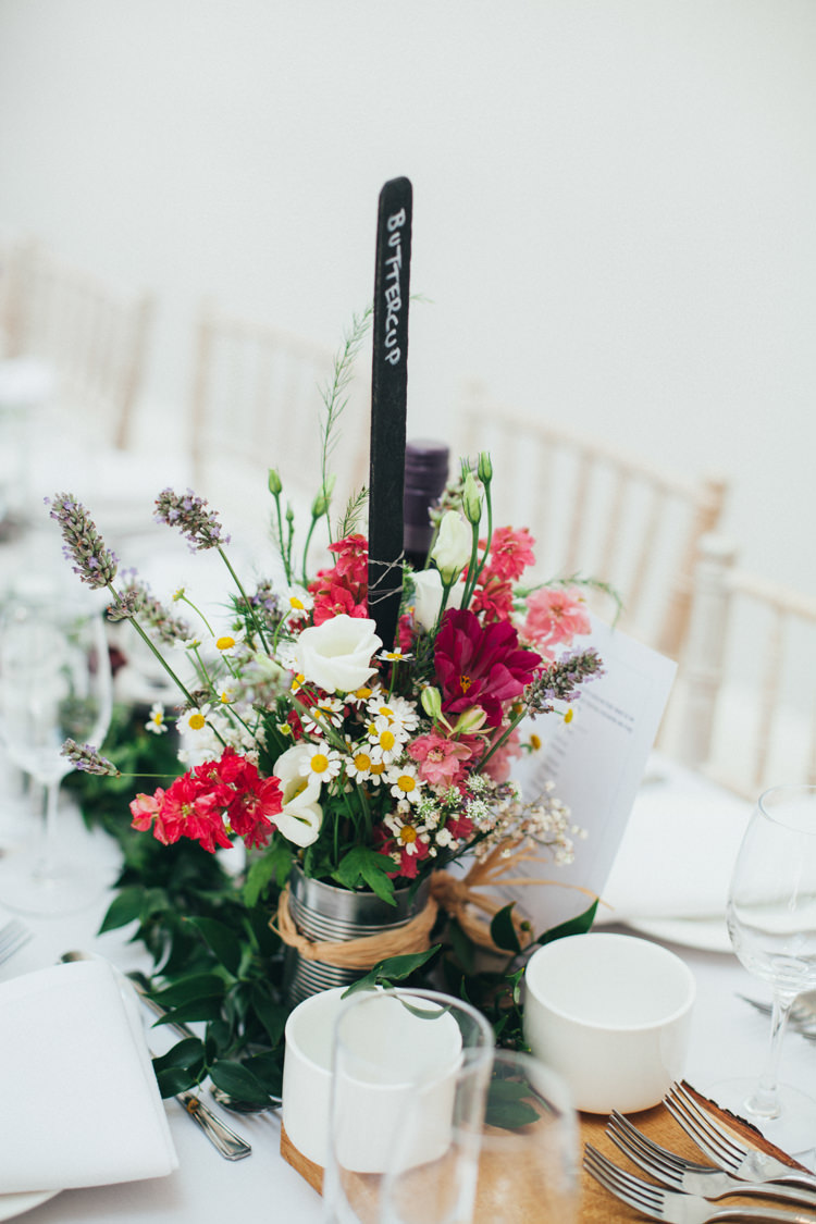 Slate Chalk Black Board Table Names Tin Can Flowers Red Daisy Ethereal Forest Eclectic Fairytale Wedding http://www.caseyavenue.co.uk/