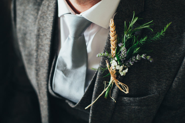 Wheat Rosemary Lavender Groom Buttonhole Ethereal Forest Eclectic Fairytale Wedding http://www.caseyavenue.co.uk/