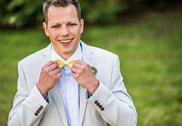 Yellow Bow Tie Groom Outdoor Festival Summer Wedding http://lighteningphotography.co.uk/