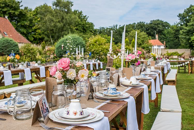 Long Tables Outside Flowers Hessian Candles Burlap Lace China Outdoor Festival Summer Wedding http://lighteningphotography.co.uk/