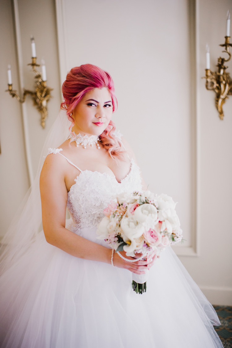 Bride Lauren Elaine Floral Tulle Bridal Gown Bouquet Opulent Pink Gold Victorian Wedding in Seattle http://www.barrieannephotography.com/