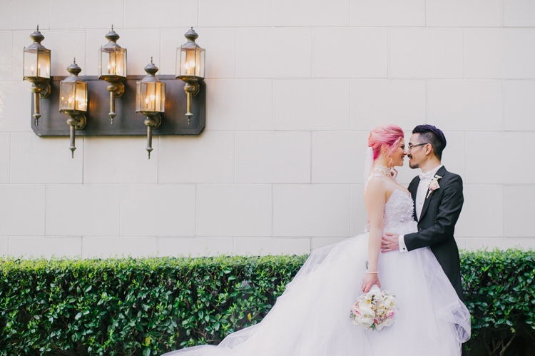 Bride Lauren Elaine Floral Tulle Gown Groom Lamps Opulent Pink Gold Victorian Wedding in Seattle http://www.barrieannephotography.com/