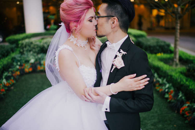 Bride Lauren Elaine Floral Tulle Gown Groom Kiss Gardens Opulent Pink Gold Victorian Wedding in Seattle http://www.barrieannephotography.com/
