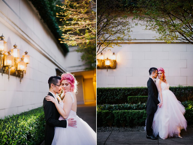 Bride Lauren Elaine Floral Tulle Gown Groom Gardens Lamps Opulent Pink Gold Victorian Wedding in Seattle http://www.barrieannephotography.com/