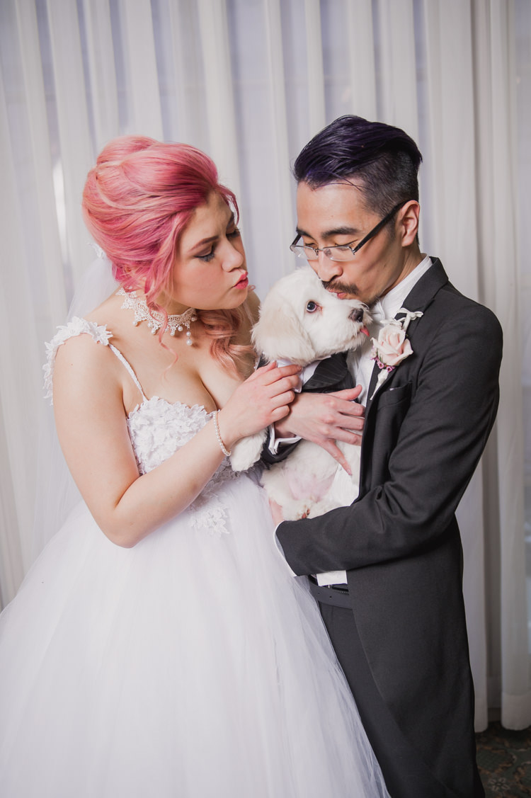 Bride Lauren Elaine Floral Tulle Gown Groom Ring Pup Opulent Pink Gold Victorian Wedding in Seattle http://www.barrieannephotography.com/