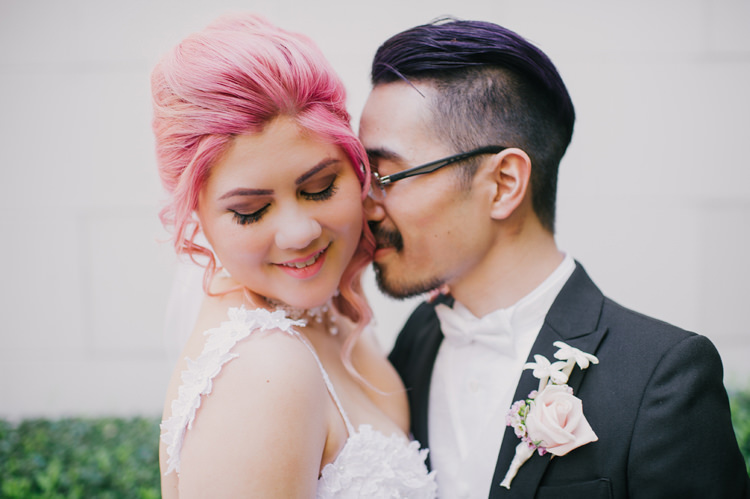 Bride Lauren Elaine Floral Tulle Gown Groom Kiss Opulent Pink Gold Victorian Wedding in Seattle http://www.barrieannephotography.com/