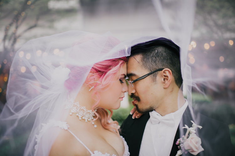 Bride Lauren Elaine Floral Tulle Gown Groom Veil Opulent Pink Gold Victorian Wedding in Seattle http://www.barrieannephotography.com/