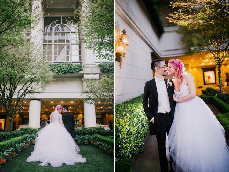 Bride Lauren Elaine Floral Tulle Gown Groom Fairmont Olympic Hotel Opulent Pink Gold Victorian Wedding in Seattle http://www.barrieannephotography.com/