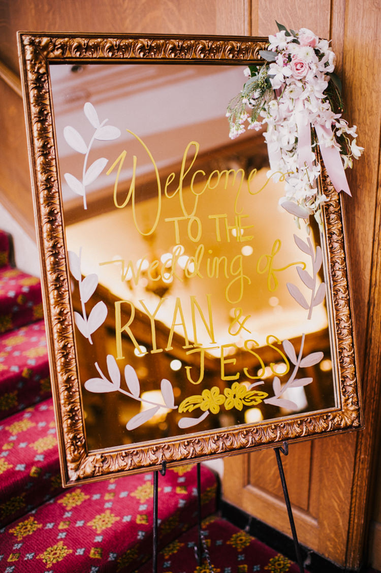 Welcome Sign Mirror Calligraphy Ceremony Flowers Opulent Pink Gold Victorian Wedding in Seattle http://www.barrieannephotography.com/