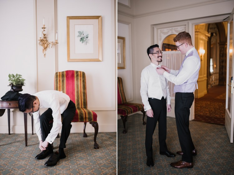 Groom Preparations Opulent Pink Gold Victorian Wedding in Seattle http://www.barrieannephotography.com/