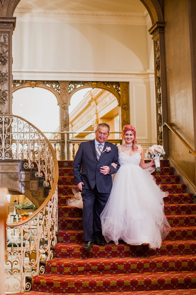 Bride Lauren Elaine Floral Tulle Gown Father Grand Entrance Opulent Pink Gold Victorian Wedding in Seattle http://www.barrieannephotography.com/