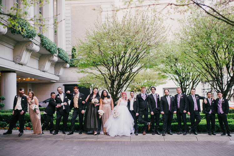 Bride Lauren Elaine Floral Tulle Gown Groom Bridal Party Black Blush Sequins Opulent Pink Gold Victorian Wedding in Seattle http://www.barrieannephotography.com/