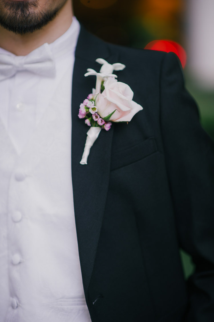 Groom Boutonniere Black Suit White Bowtie Opulent Pink Gold Victorian Wedding in Seattle http://www.barrieannephotography.com/