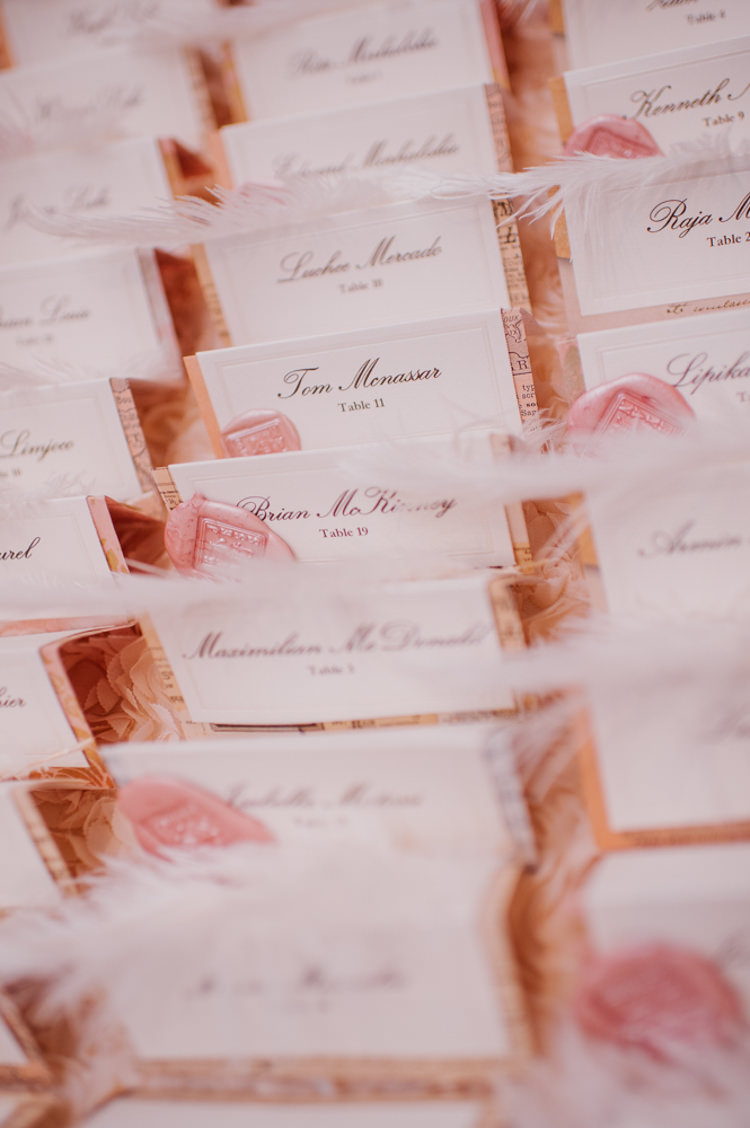 Reception Place Cards Feather Wax Seal Opulent Pink Gold Victorian Wedding in Seattle http://www.barrieannephotography.com/