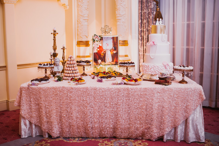 Reception Dessert Table Wedding Cake Opulent Pink Gold Victorian Wedding in Seattle http://www.barrieannephotography.com/