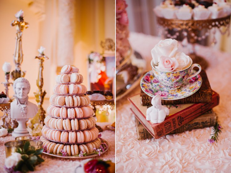 Reception Dessert Table French Macarons Teacup Vintage Books Opulent Pink Gold Victorian Wedding in Seattle http://www.barrieannephotography.com/