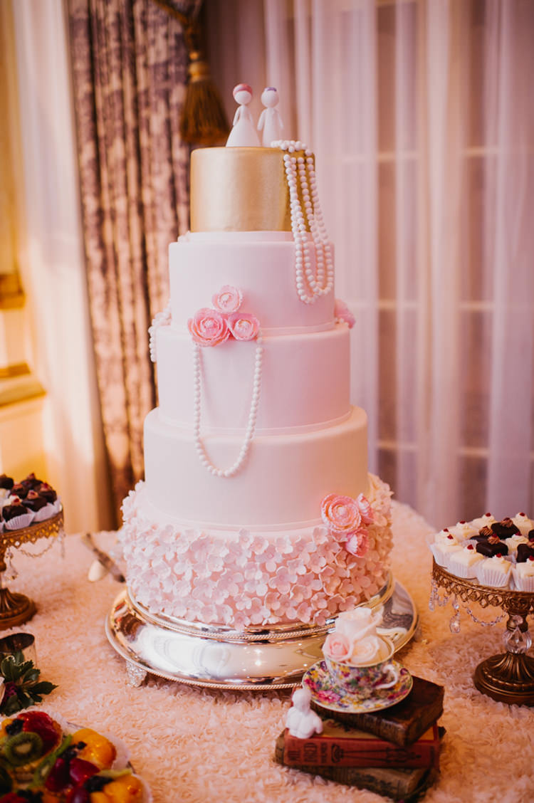 Wedding Cake Pearls Flowers Desserts Opulent Pink Gold Victorian Wedding in Seattle http://www.barrieannephotography.com/